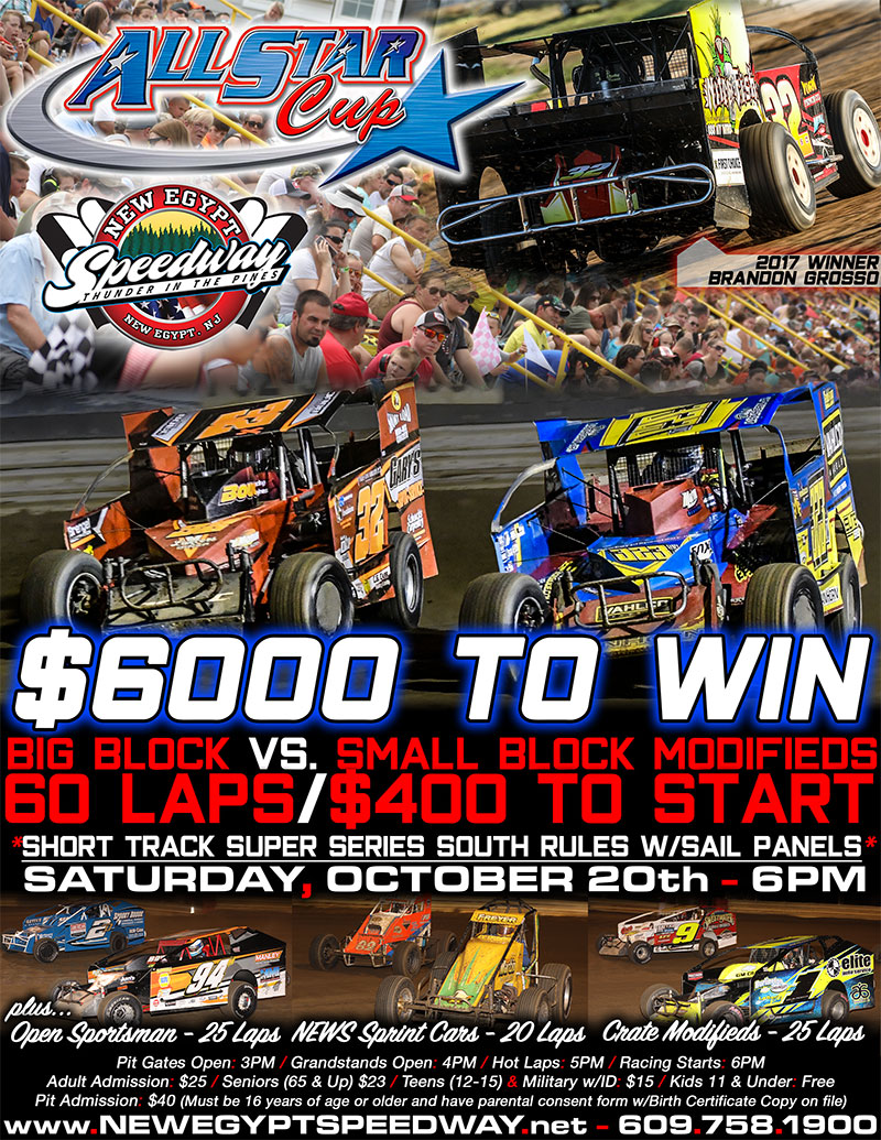 6th Annual All Star Cup Shootout Set For Saturday October 20th At New Egypt Speedway