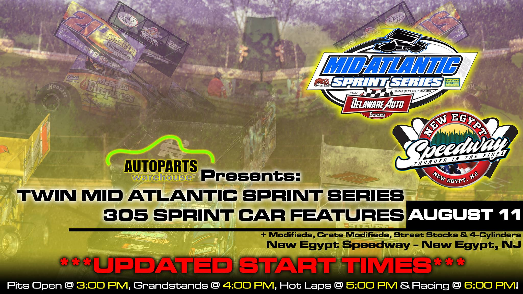EASTERN AUTOPARTS WAREHOUSE NIGHT TO SHOWCASE SIX FEATURE EVENTS WITH A NEW START TIME OF 6:00 PM AT NEW EGYPT SPEEDWAY ON SATURDAY, AUGUST 11