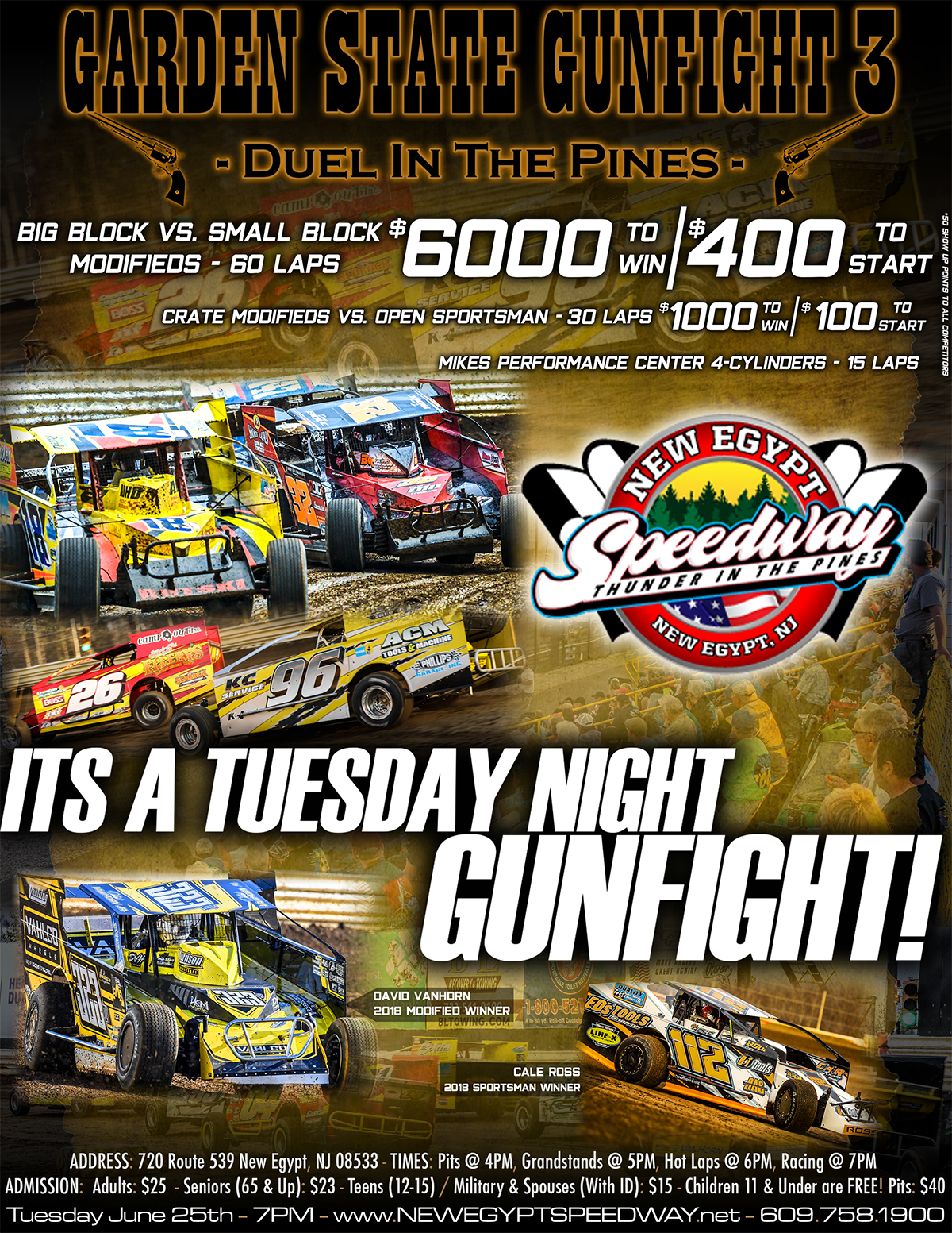 TOP DRIVERS WILL BE SHOOTING FOR A BIG PAYDAY AT NEW EGYPT SPEEDWAY'S GARDEN STATE GUNFIGHT 2 ON WEDNESDAY, JUNE 27