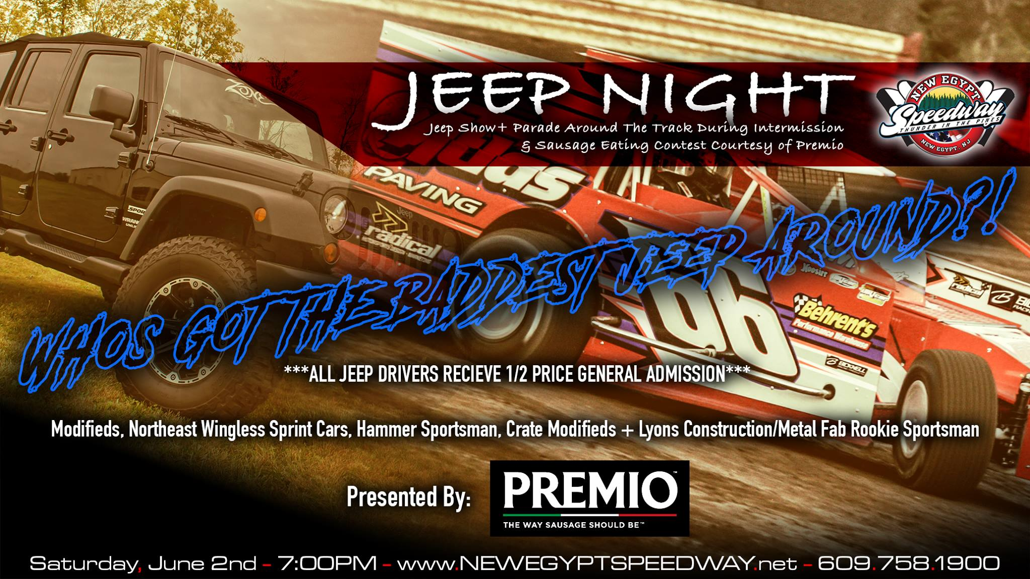 BUY ONE, GET ONE SAUSAGE SANDWICHES AS PREMIO FOODS PRESENT'S JEEP NIGHT THIS SATURDAY NIGHT AT NEW EGYPT SPEEDWAY