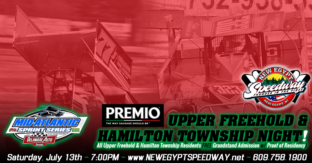 Fun Fan Activities Planned For Upper Freehold/Hamilton Township Night Presented By Premio Foods At New Egypt Speedway This Saturday