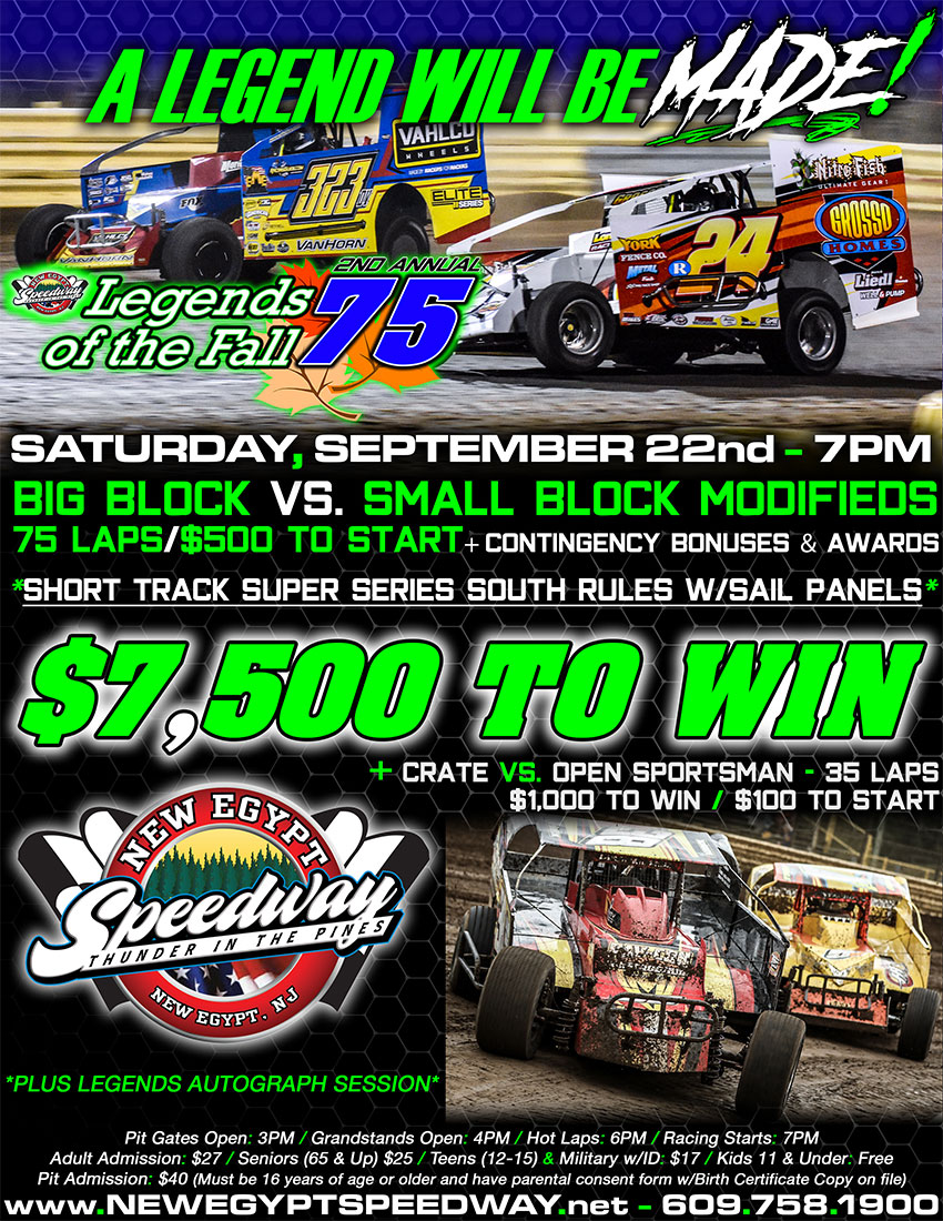 CONTINGENCY BONUSES AND NEW RULES FOR THE MODIFIEDS BUILD EXCITEMENT FOR NEW EGYPT SPEEDWAY'S LEGENDS OF THE FALL